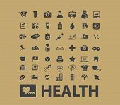 health, healthcare icons, signs, silhouettes, illustrations set, vector