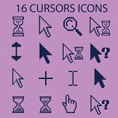 16 pixel cursors, select, interface, icons, signs, illustrations, silhouettes set, vector
