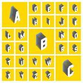 Alphabet set. 3d vector illustration. Design elements.