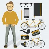 Hipster infographic vector concept background design elements and icons