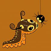 pic of baby spider  - Vector cartoon cute monster caterpillar with spider - JPG