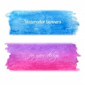 Bright watercolor banners set