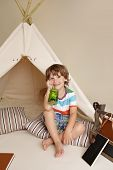 stock photo of teepee  - Concept for science education through indoor play with a teepee tent for school and preschool aged children - JPG