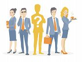 Vector Illustration Of A Business Team Standing Together In The Center Is The Chief Silhouette With