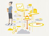 Vector Illustration Portrait Of A Woman Manager Keeps A Folder With Documents In Hands Stands On The