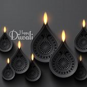 Vector Paper Diwali Diya (Oil Lamp).