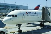 Delta aircraft at the gate at San Diego International Airport