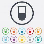 Medical test tube sign icon. Lab equipment.