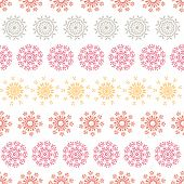 Folk floral circles abstract stripes seamless pattern background