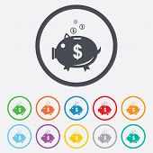 Piggy bank sign icon. Moneybox symbol.