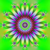 Clock Flower In Green Yellow And Purple