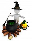 foto of witches cauldron  - 3D Render of Morph Man Witch with cauldron - JPG