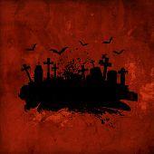 Grunge Halloween background with gravestones