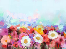 picture of garden-art  - Colourful Gerbera flowers oil painting - JPG