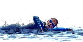 image of triathlon  - woman triathlon ironman athlete  swimmers on white background - JPG