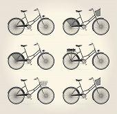 Vector illustration of ladies vintage bicycle