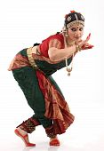 foto of bharatanatyam  - Pose of bharatanatyam dance by the woman with religious dress - JPG