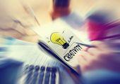 Businessman Notepad Word Creativity Concepts