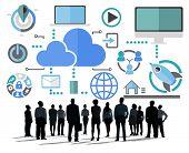 Big Data Sharing Online Global Communication Cloud Concept
