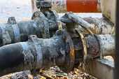 picture of valves  - Old valve or dirty valve in dirty work - JPG