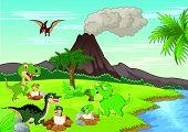 stock photo of dinosaur-eggs  - Vector illustration of Cartoon dinosaur nesting ground - JPG