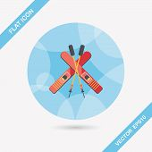 pic of ski boots  - Ski And Sticks Flat Icon With Long Shadow - JPG