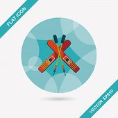 foto of ski boots  - Ski And Sticks Flat Icon With Long Shadow - JPG