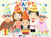 Happy girl cartoon blowing birthday candles with his family