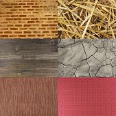Assortment of different textures in collage, mix of textures as background