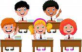 School children cartoon in classroom at lesson