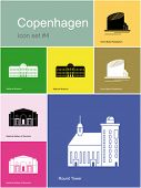 Landmarks of Copenhagen. Set of color icons in Metro style. Editable vector illustration.