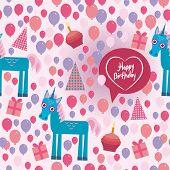 Funny unicorn Happy birthday seamless pattern. flat style set. vector