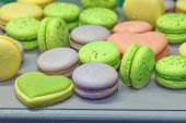 macarons and heart-shaped cookies