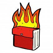 retro comic book style cartoon burning business files