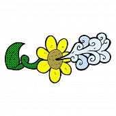 picture of squirting  - retro comic book style cartoon flower squirting water - JPG