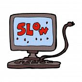 retro comic book style cartoon slow computer