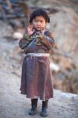 Portrait Of Little Tibetan Girl
