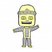 retro comic book style cartoon waving robot