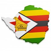 detailed illustration of a map of Zimbabwe with flag, eps10 vector