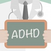 minimalistic illustration of a doctor holding a blackboard with ADHD text, eps10 vector