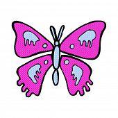retro comic book style cartoon butterfly