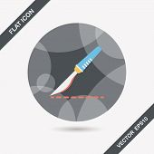 stock photo of scalpel  - Scalpel Cut Flat Icon With Long Shadow - JPG