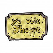 retro comic book style cartoon old fake shop sign