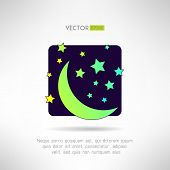 Moon crescent and stars icon. Night sky sign. Vector illustration