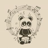 Illustration of panda musician.