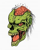 image of zombie  - Illustration of a zombie head with brain - JPG