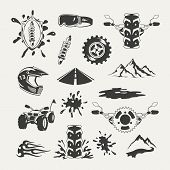 Set of extreme sports emblems, badges, labels and designed elements
