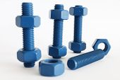 Xylan bolt and nut in blue coated with PTFE