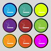 Smoking Sign Icon. Cigarette Symbol. Set Colourful Buttons. Vector