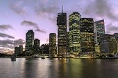 Brisbane cityscape sunset on the Brisbane river